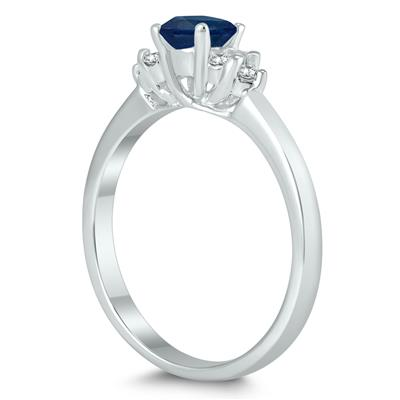 4MM Sapphire and Diamond Cynthia Ring in 10K White Gold