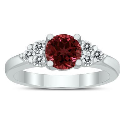 6MM Garnet and Diamond Cynthia Ring in 10K White Gold