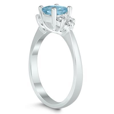 Princess Cut 5X5MM Aquamarine and Diamond Duchess Ring in 10K White Gold