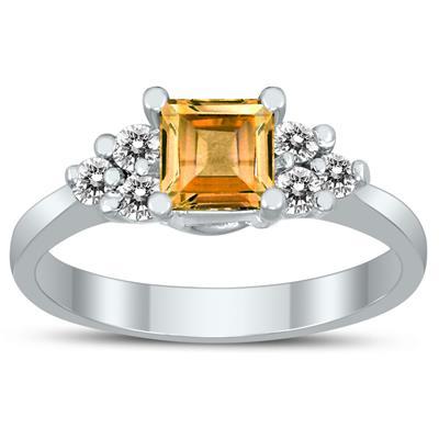 Princess Cut 5X5MM Citrine and Diamond Duchess Ring in 10K White Gold