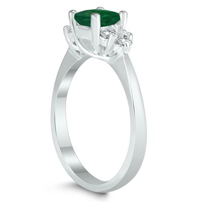 Princess Cut 5X5MM Emerald and Diamond Duchess Ring in 10K White Gold