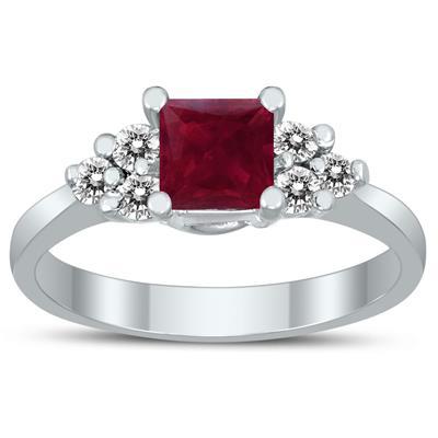 Princess Cut 5X5MM Ruby and Diamond Duchess Ring in 10K White Gold