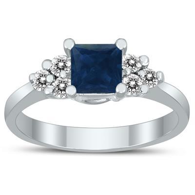 Princess Cut 5X5MM Sapphire and Diamond Duchess Ring in 10K White Gold