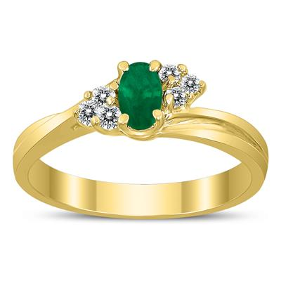 5X3MM Emerald and Diamond Twist Ring in 10K Yellow Gold