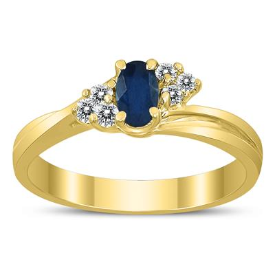 5X3MM Sapphire and Diamond Twist Ring in 10K Yellow Gold