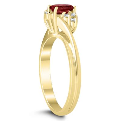 6X4MM Garnet and Diamond Twist Ring in 10K Yellow Gold