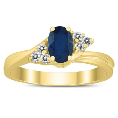 6X4MM Sapphire and Diamond Twist Ring in 10K Yellow Gold