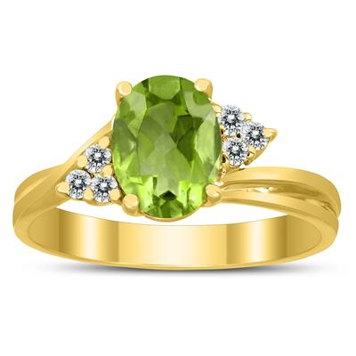 8X6MM Peridot and Diamond Twist Ring in 10K Yellow Gold