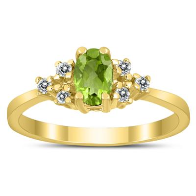 6X4MM Peridot and Diamond Regal Ring in 10K Yellow Gold