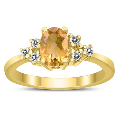 7X5MM Citrine and Diamond Regal Ring in 10K Yellow Gold