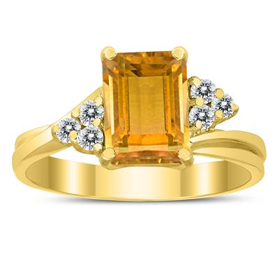 8X6MM Citrine and Diamond Twist Ring in 10K Yellow Gold