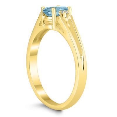 6X4MM Aquamarine and Diamond Open Three Stone Ring in 10K Yellow Gold