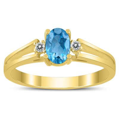 6X4MM Blue Topaz and Diamond Open Three Stone Ring in 10K Yellow Gold