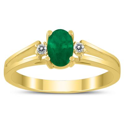 6X4MM Emerald and Diamond Open Three Stone Ring in 10K Yellow Gold