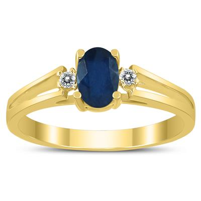 6X4MM Sapphire and Diamond Open Three Stone Ring in 10K Yellow Gold