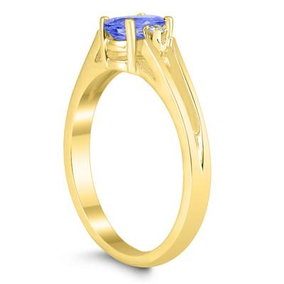 6X4MM Tanzanite and Diamond Open Three Stone Ring in 10K Yellow Gold