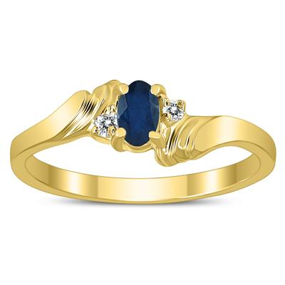 5X3MM Sapphire and Diamond Wave Ring in 10K Yellow Gold