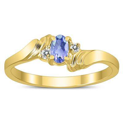 5X3MM Tanzanite and Diamond Wave Ring in 10K Yellow Gold