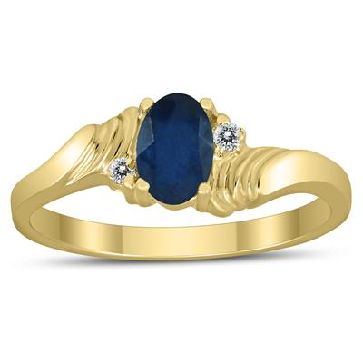 6X4MM Sapphire and Diamond Wave Ring in 10K Yellow Gold