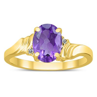 8X6MM Amethyst and Diamond Wave Ring in 10K Yellow Gold