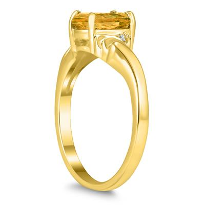 8X6MM Citrine and Diamond Wave Ring in 10K Yellow Gold