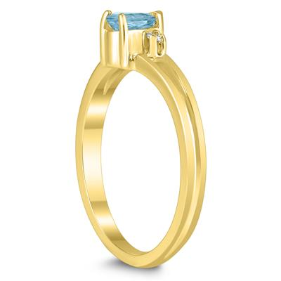 5X3MM Aquamarine and Diamond Pear Shaped Open Three Stone Ring in 10K Yellow Gold