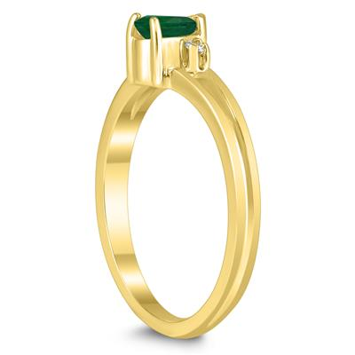 5X3MM Emerald and Diamond Pear Shaped Open Three Stone Ring in 10K Yellow Gold