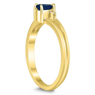 5X3MM Sapphire and Diamond Pear Shaped Open Three Stone Ring in 10K Yellow Gold