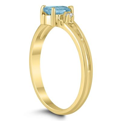 6X4MM Aquamarine and Diamond Pear Shaped Open Three Stone Ring in 10K Yellow Gold