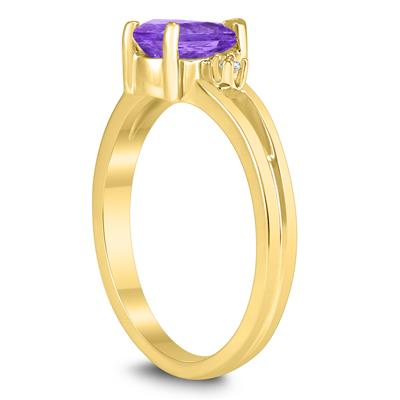 7X5MM Amethyst and Diamond Pear Shaped Open Three Stone Ring in 10K Yellow Gold