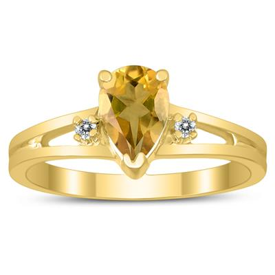 7X5MM Citrine and Diamond Pear Shaped Open Three Stone Ring in 10K Yellow Gold