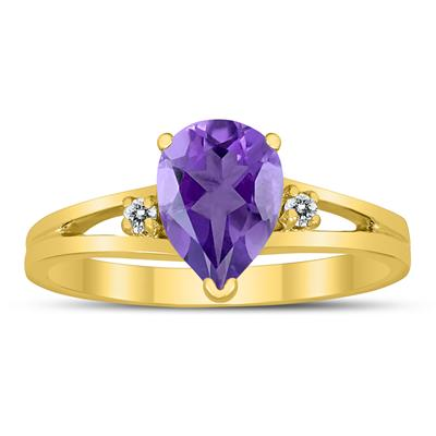 8X6MM Amethyst and Diamond Pear Shaped Open Three Stone Ring in 10K Yellow Gold
