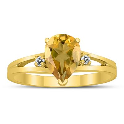 8X6MM Citrine and Diamond Pear Shaped Open Three Stone Ring in 10K Yellow Gold