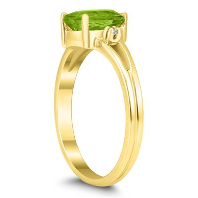 8X6MM Peridot and Diamond Pear Shaped Open Three Stone Ring in 10K Yellow Gold