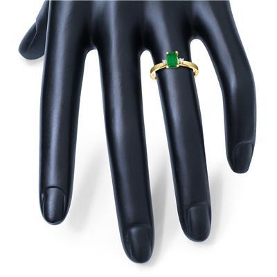 Emerald Cut 6X4MM Emerald and Diamond Three Stone Ring in 10K Yellow Gold