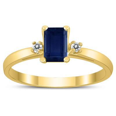 Emerald Cut 6X4MM Sapphire and Diamond Three Stone Ring in 10K Yellow Gold