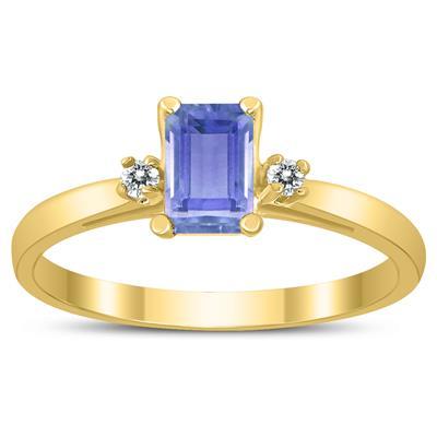 Emerald Cut 6X4MM Tanzanite and Diamond Three Stone Ring in 10K Yellow Gold