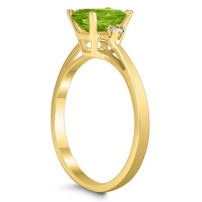 Emerald Cut 7X5MM Peridot and Diamond Three Stone Ring in 10K Yellow Gold