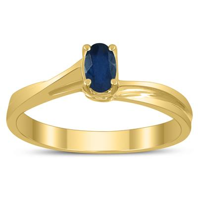 Solitaire Oval 5X3MM Sapphire Gemstone Twist Ring in 10K Yellow Gold
