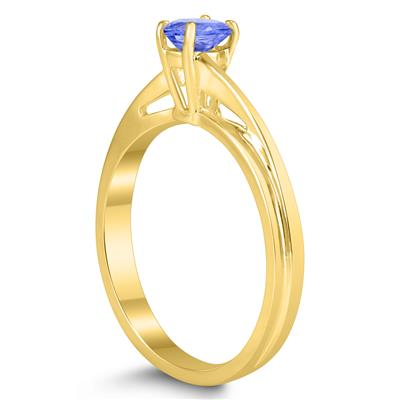 Solitaire Oval 5X3MM Tanzanite Gemstone Twist Ring in 10K Yellow Gold