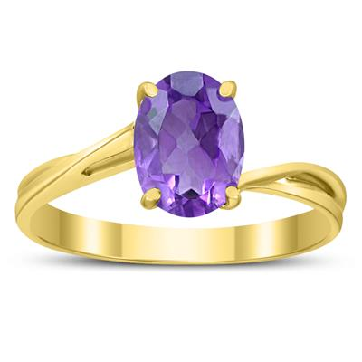 Solitaire Oval 8X6MM Amethyst Gemstone Twist Ring in 10K Yellow Gold