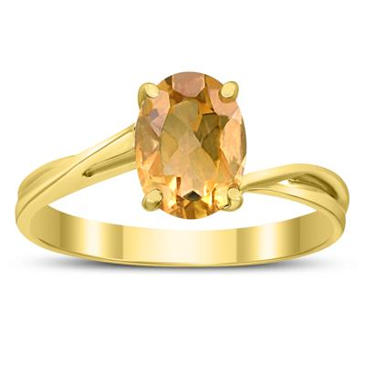 Solitaire Oval 8X6MM Citrine Gemstone Twist Ring in 10K Yellow Gold