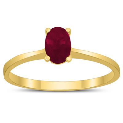 Oval Solitaire 6X4MM Ruby Ring in 10K Yellow Gold