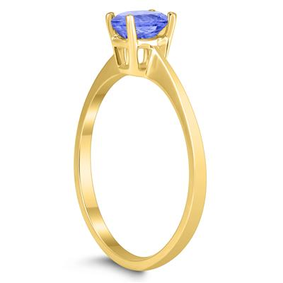 Oval Solitaire 6X4MM Tanzanite Ring in 10K Yellow Gold
