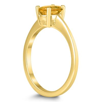Oval Solitaire 7X5MM Citrine Ring in 10K Yellow Gold