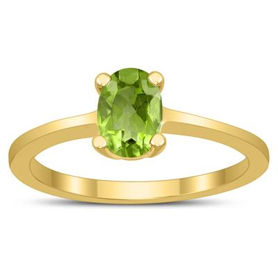 Oval Solitaire 7X5MM Peridot Ring in 10K Yellow Gold