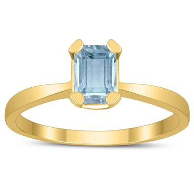Emerald Shaped 6X4MM Aquamarine Solitaire Ring in 10K Yellow Gold