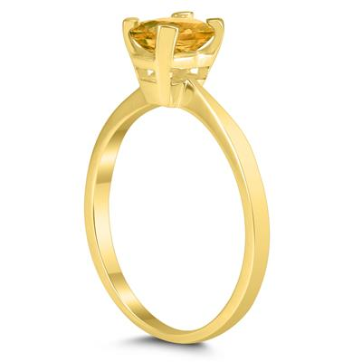 Emerald Shaped 6X4MM Citrine Solitaire Ring in 10K Yellow Gold