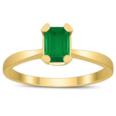 Emerald Shaped 6X4MM Emerald Solitaire Ring in 10K Yellow Gold