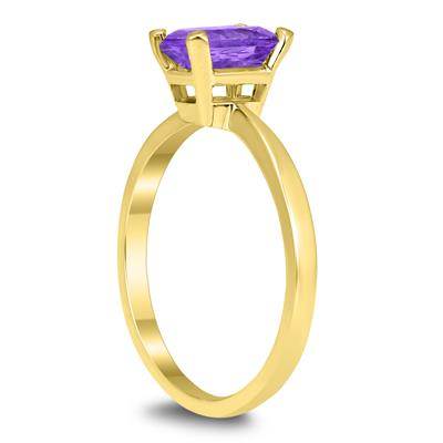 Emerald Shaped 7X5MM Amethyst Solitaire Ring in 10K Yellow Gold